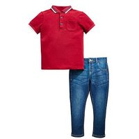 Mini V by Very Boys Polo & Washed Jean Outfit, Merlot/Denim, Size Age: 9-12 Months