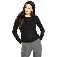 V by Very Supersoft Crew Neck Cardigan, Black, Size 14, Women