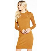 V by Very Mesh Sleeve And Yoke Detail Knitted Dress - Spice, Spice, Size 12, Women