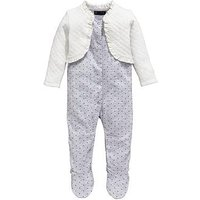 Mini V by Very Baby Girls All In One Sleepsuit With Attatched Jacket, Grey/Cream, Size Age(Months): 6-9 Months (20Lbs)