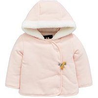 Mini V by Very Baby Girls Fleece Trim Hooded Sweat Jacket, Pink, Size Age(Months): Newborn (10Lbs)