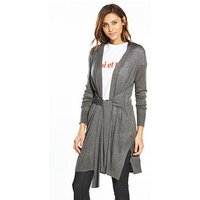 V by Very Tie Front Cardigan, Charcoal Marl, Size 12, Women