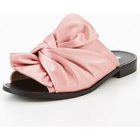 V by Very Karma Satin Knotted Slider - Pink, Pink, Size 5, Women