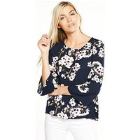 Vero Moda Occasion Wide Three-quarter Sleeve Top, Print, Size 14=L, Women