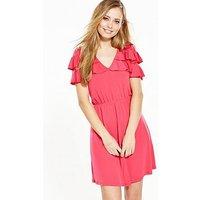 V by Very Frill V Neck Dress, Hot Pink, Size 14, Women