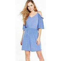 V by Very Cold Shoulder Dress, Soft Blue, Size 18, Women