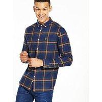 Lyle & Scott Lyle & Scott Check Flannel L/S Shirt, Navy, Size S, Men