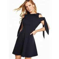 V by Very Petite Tie Sleeve Skater Dress, Navy, Size 6, Women