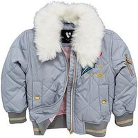 Mini V by Very Girls Faux Fur Trim Badge Bomber Jacket, Grey, Size Age: 3-4 Years, Women