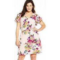 AX PARIS CURVE Wrap Floral Dress, Multi, Size 26, Women
