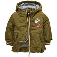 Mini V by Very Girls Badged Frill Quilted Jacket, Khaki, Size Age: 18-24 Months, Women