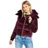 V by Very Petite Velvet Short Padded Coat, Burgundy, Size 14, Women
