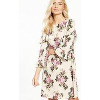 V by Very Long Sleeve Cross Body Ruffle Dress, Print, Size 10, Women