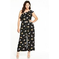 Fashion Union Curve Fashion Union Floral Print One Shoulder Jumpsuit, Floral, Size 20, Women
