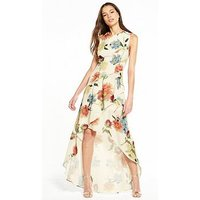 HOPE & IVY Floral Maxi Dress, White Floral, Size 10, Women
