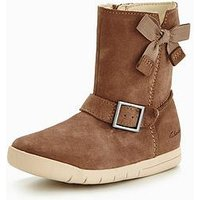 Clarks Crazy Fun First Boot, Walnut, Size 6.5 Younger