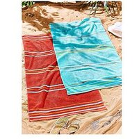 Product photograph showing Catherine Lansfield Rainbow Beach Towel Pair Red Amp Aqua