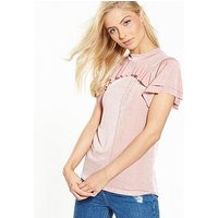V by Very Frill Slinky Top - Pink, Pink, Size 22, Women