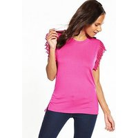 V by Very Pleated Lace Sleeve T-Shirt - Hot Pink, Hot Pink, Size 10, Women