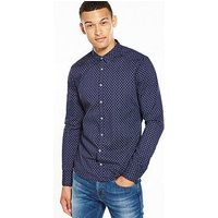 Boss Orange Paisley Long Sleeve Shirt, Dark Blue, Size L, Men