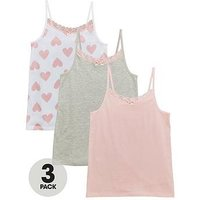 V by Very 3pk Heart Vests, Multi, Size 11 Years, Women