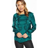 V by Very Hammered Satin Fluted Sleeve Ruffle Blouse, Green, Size 12, Women
