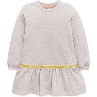 Mini V by Very Girls Drop Waist Lurex Trim Jersey Dress, Grey, Size 2-3 Years, Women