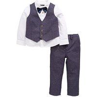 Mini V by Very Boys 4 Piece Bow Tie Occasion Wear Outfit, Navy, Size Age: 4-5 Years