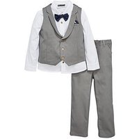 Mini V by Very Boys Grey Herringbone 3 Piece Occasion Outfit, Grey, Size Age: 4-5 Years