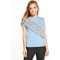 V by Very Petite Lace Frill T-Shirt - Blue, Blue, Size 6, Women