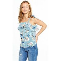 V By Very Petite Floral Stripe Woven Top