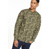 Pretty Green Ryder Paisley Ls Shirt, Khaki, Size S, Men