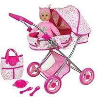 Lissi Doll Pram & 13Inch - 33Cms Baby Doll Gift Set