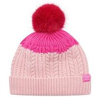 Joules Bobble Hat, Rose Pink, Size 4-7 Years