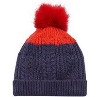 Joules Bobble Hat, Navy, Size 8-12 Years