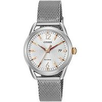Citizen Citizen Eco-Drive Silver Tone Date Dial Stainless Steel Bracelet Ladies Watch, One Colour, Women