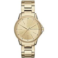 Armani Exchange Gold Tone Dial Stainless Steel Bracelet Ladies Watch, One Colour, Women