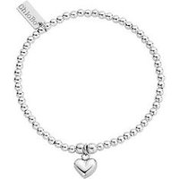 ChloBo Sterling Silver Cute Puffed Heart Charm Bracelet, One Colour, Women