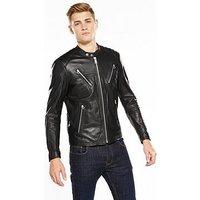 Replay Leather Biker Jacket, Black, Size L, Men
