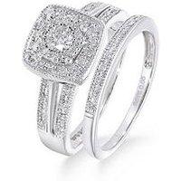 Love DIAMOND 9ct White Gold 50 Point Diamond Square Set Split Shoulder Bridal Set Of Two Rings, One Colour, Size M, Women