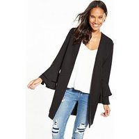 V by Very Frill Sleeve Duster, Black, Size 8, Women