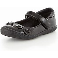 Mini V by Very Tammy Flower Trim Bar Shoe, Black, Size 9 Younger