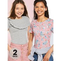 V by Very Girls Bodysuits (2 Pack), Floral, Size Age: 15 Years, Women