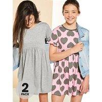 V by Very 2pk Heart Jersey Dress, Multi, Size 14 Years, Women