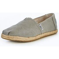 Toms Toms Natural Metalic Linen Deconstructed Espadrille, Grey, Size 6, Women