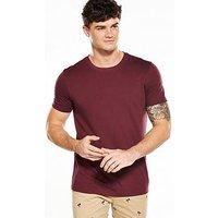 V by Very Crew Neck T-Shirt - Burgundy , Burgundy, Size Xs, Men