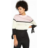 V by Very Colour Block Tie Cuff Detail Jumper, Pink/Ivory/Black, Size 8, Women
