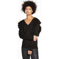V by Very Ruffle Shoulder V-Neck Jumper - Black, Black, Size 10, Women