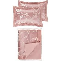 Sakura Floral Bedspread Throw And Pillow Sham Set