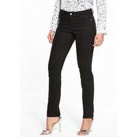 V by Very Ashton Mid Rise Slim Leg Jean, Black, Size 8, Inside Leg Long, Women